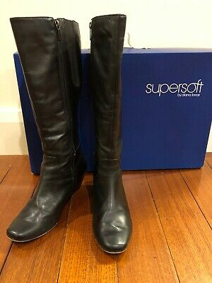 Diana Ferrari Supersoft Genuine Black LEATHER Long Wedge BOOTS Size 9