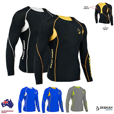 Mens Compression Shirt Base Layer Armour Full Sleeves Skin Fit Yoga Gym Tights