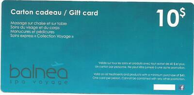 Balnea Spa Voyage $10 Gift Card For Treatments & Products With Min $40 Purchase