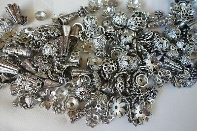 50 pcs Mixed Antique Silver Coloured Bead Caps 6mm-20mm #bc0186 Jewellery Craft