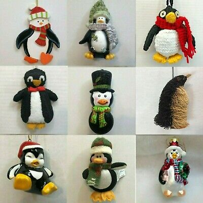 PENGUIN ORNAMENTS CHOOSE Star Tux Sweater North Pole Fish Sled Glasses Hat MORE