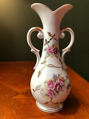 Vintage Arnart Creation Japan Porcelain Vase Pink Flowers Gold Trim 8 in tall!