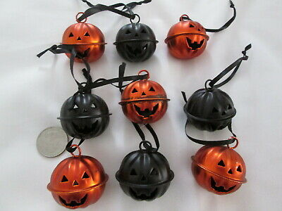 "Pkg of 9 Blk & Org Halloween 1.75"" Jack O Lantern Pumpkin Bell Orns New  Damaged"