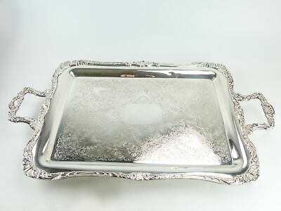 """Vintage Ornate Silver Plate Footed Serving Tray Spring Flower Wm Rogers 27"""""""