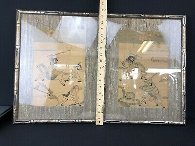 Marvelous Pair Of Old Antique Chinese Embroidery's Good Condition Framed