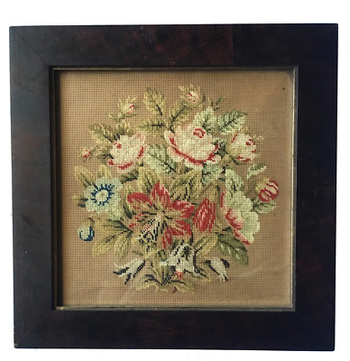 Antique Burled Wood Victorian Frame and Punchwork, Needlepoint on Paper, c.1830
