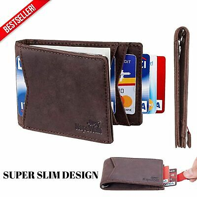 Men's Genuine Leather RFID Blocking Slim Bifold Minimalist Front Pocket Wallets