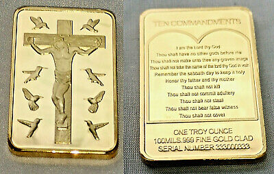 Jesus Christ 10 Commandments Gold Bar Crucifix Ingot Easter Angels Birds Prayer