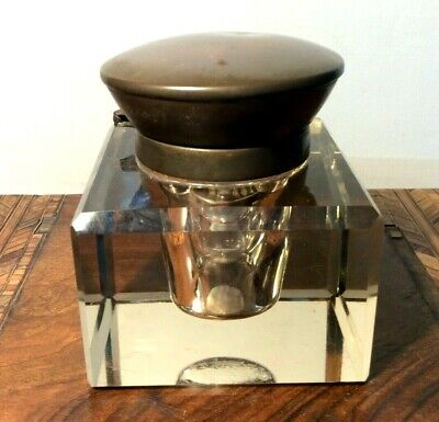 LOVELY ANTIQUE BRASS & CUT GLASS  INKWELL  with LINER  or PAPERWEIGHT.