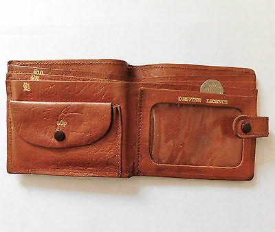 Old leather wallet Purse for 50p coin driving licence holder vintage 1970s 1980s