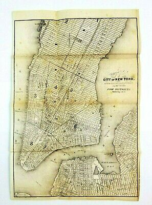 """1852 New York City Map Great Metropolis Engraved 11.5""""x 8"""" Rare Fire Districts"""