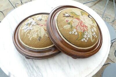 Antique Pair Low Round Needlepoint Beaded Footstools