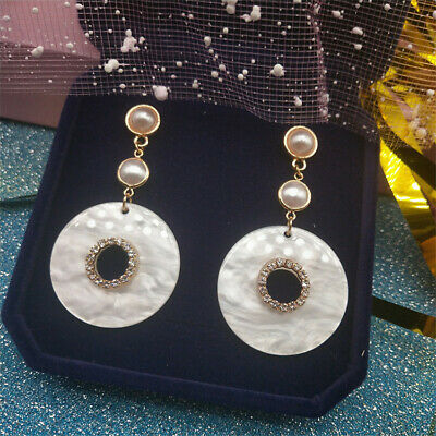 Natural Round White Shell Earrings Silver Ear Drop Dangle Party Luxury Gift