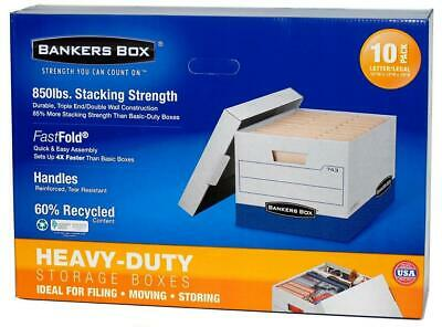 NIDB Bankers Box Heavy-Duty Storage Boxes Ideal for Filing, Moving, Storing 10PK