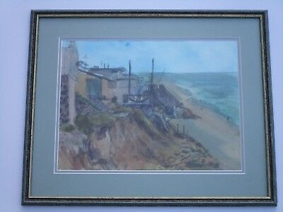 Mystery Artist Abstract Painting Expressionism Coastal Seascape Signed 1960'S
