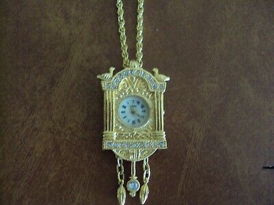 Vtg Lindenwold Cuckoo Coo-Coo  Clock Ladies Watch Pendant Rhinestone Necklace