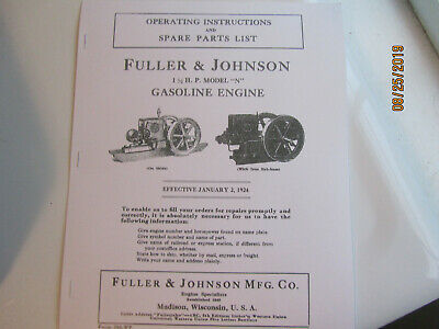 Fuller & Johnson Model N Gas Engine Parts/Operating  Instructions Manual