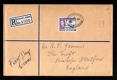 16709-GAMBIA-REGISTERED FIRST DAY COVER BATHURST to ENGLAND 1938.WWII.British.