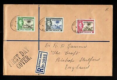 16710-GAMBIA-REGISTERED FIRST DAY COVER BATHURST to ENGLAND 1938.WWII.British.