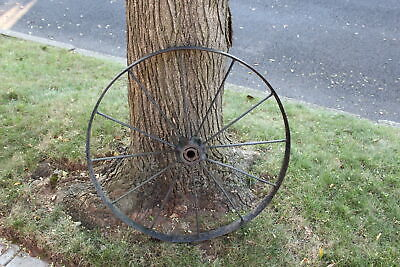 Antique Wagon Wheel Tractor Automobile #2 12 Spokes 32 Inches Tall Farm Decor