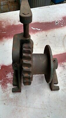 VINTAGE HAND CRANK Winch With Cable,BRAKE, Hook, Works Great