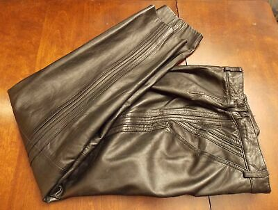 Quality made Black Butter Soft Leather Pants Petite Size 4 Made in Hong Kong