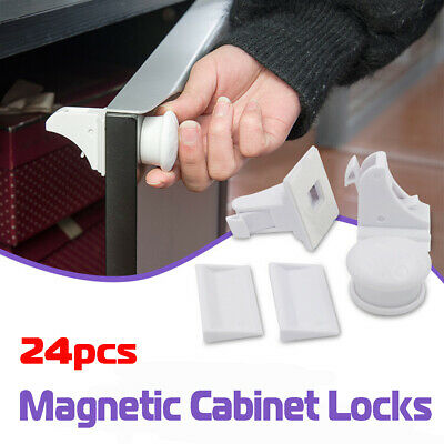 24PCS Magnetic Child Infant Baby Kids Drawer Cupboard Cabinet Door Safety Lock