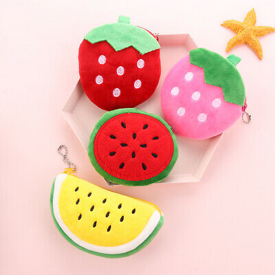 Women Fruits Watermelon Strawberry Plush Coin Purses Girls Coin Pouch Wallet.