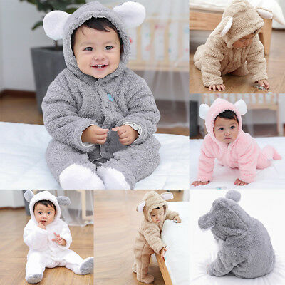 Girls&Boys Long Sleeve Fluffy Hooded Jumpsuit Romper Outfits Cartoon Snowsuit