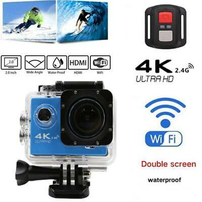 Action Camera WiFi Camcorder Waterproof DV Sports Cam Underwater + Remote Gold