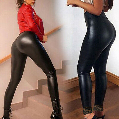Women Sexy PU Leather Pants Lace Hip Pencil Skinny Stretch Leggings Trousers HOT