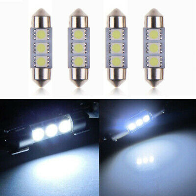 4X 3-LED 10*36mm 5050 SMD 6418 White CANBUS Error Free Dome Car Light Dome Bulb