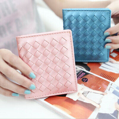 Women Fashion Business Ultra-thin Faux Leather Mini Bifold Slim Woven Wallet LG