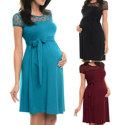 Women Maternity Pregnant Summer Lace Solid Tunic Short Sleeve Casual Party Dress