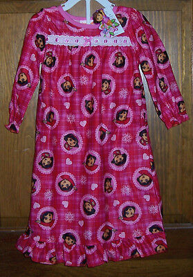 Dora the Explorer Pink Red Flannel Long Nightgown Pajamas Toddler Girls 2T NWT