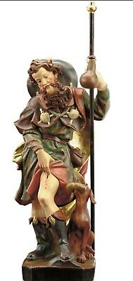 Statue St.Martin Rocco cm 15 Carved Wooden of Valgardena Decoration by Hand