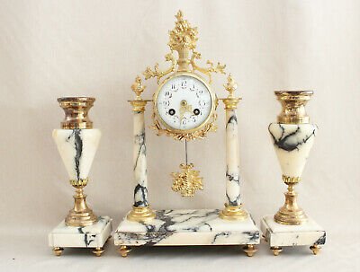 FRENCH  CLOCK SET  PORTICO 4 COLUMNS LOUIS XVI black white marble