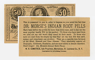 W.H. Comstock (Dr Morse's Indian Root Pills) Advertisement on T-63 CSA Facsimile