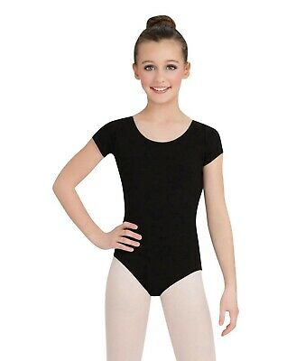 Capezio 10214 Little Girls Black Short Sleeve Leotard Size Small/4-6
