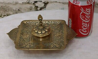 Antique Ornate Solid Brass Inkwell Ink Stand With Hinged Lid & Blue Glass Liner