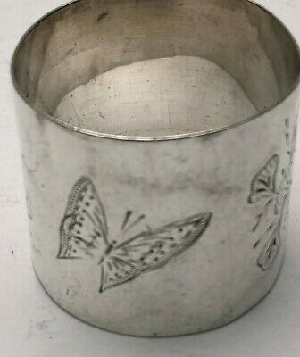 Beautiful Sterling Silver Napkin Ring with Butterfly and etched Flowers