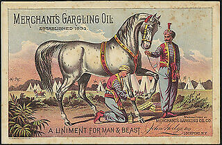 Photo:Merchant's Gargling Oil, a liniment for man & beast (front) 1 3423