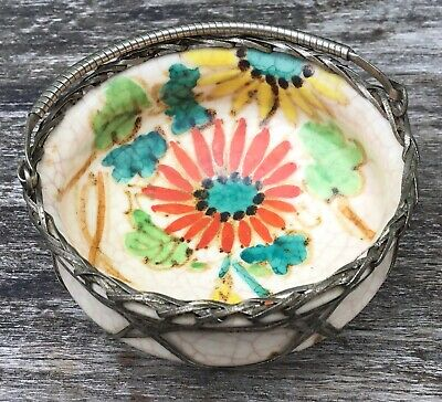Small Old Vintage Japanese Awaji Hand Painted Pottery Bowl Woven Silver Overlay