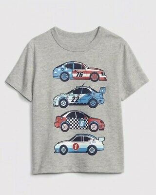 Gap Baby Boy Toddler Short Sleeve T-Shirt Top Tee Grey Blue Red Cars Size 3T NWT
