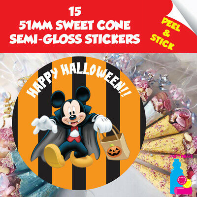 15 Halloween Trick or Treat Mickey Mouse Sweet Cone or Gift Party Stickers