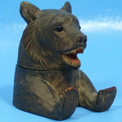 Antique Art Deco Swiss Black Forest Wood Carving INKWELL Bear Glass Insert c1920