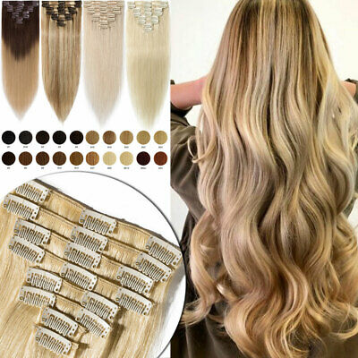ON CLEARANCE AAA+ Clip in 100% Real Remy Human Hair Extensions 8Pcs Long Soft UK