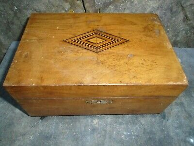 Antique, Walnut & Inlaid Sewing  Box, Given As A Gift In 1899-St Marys-Axminster
