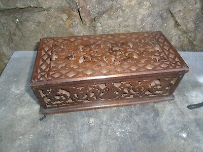 Antique, Fret Work Designed,Mahogany Glove Box.