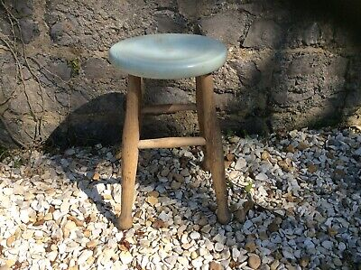 Old Kitchen Stool With 4 Legs And Painted Top